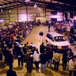 Car auction in a warehouse