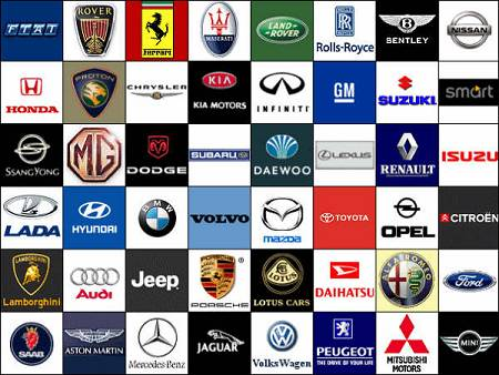 Various vehicle manufacturer logos