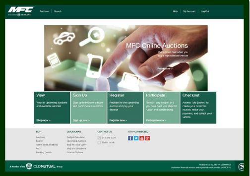 Screenshot of MFC online car auction website